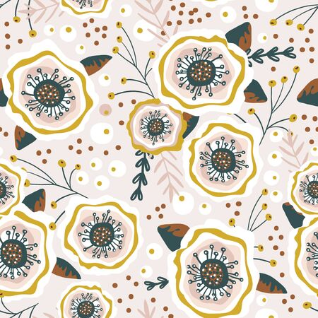 Seamless pattern with flowers, berries. Creative blooming floral texture. Great for fabric, textile Vector Illustration