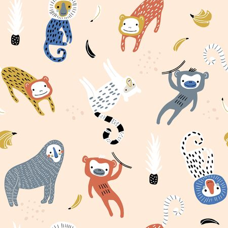 Seamless pattern with monkey. Creative jungle childish texture. Great for fabric, textile Vector Illustration