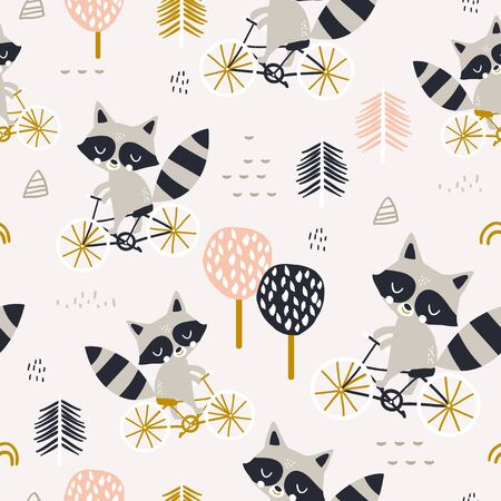 Seamless childish pattern with cute raccoons riding on bike. Forest backround. Perfect for babric printing, apparel, textile. Vector illustration