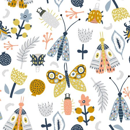 Seamless pattern with flowers, moth, butterfly, leaves. Creative floral texture. Great for fabric, textile Vector Illustration Ilustração