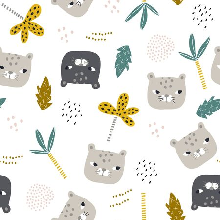 Seamless childish pattern with funny leopard faces . Creative jungle kids texture for fabric, wrapping, textile, wallpaper, apparel. Vector illustration