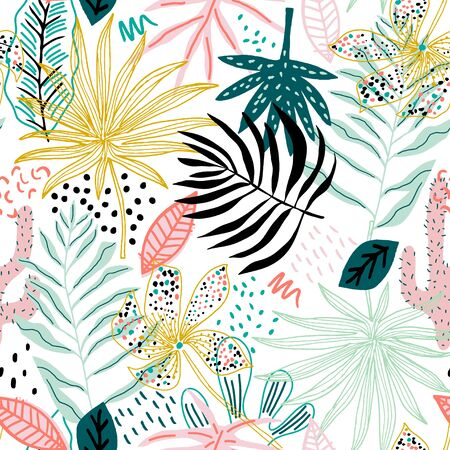 Seamless tropical pattern with hand drawn plants, leaves, flowers. Jungle summer background. Perfect for fabric design, wallpaper, apparel. Vector illustration