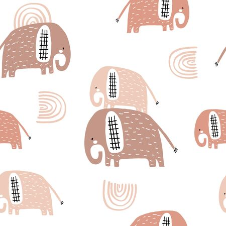 Seamless pattern with cute mom and baby elephant, rainbows. Creative childish texture. Great for fabric, textile Vector Illustration