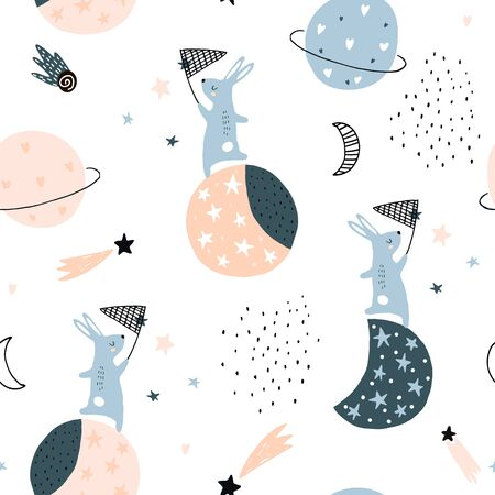 Seamless childish pattern with catching stars cute bunnies characters, planets, moon, stars. Vector illustration