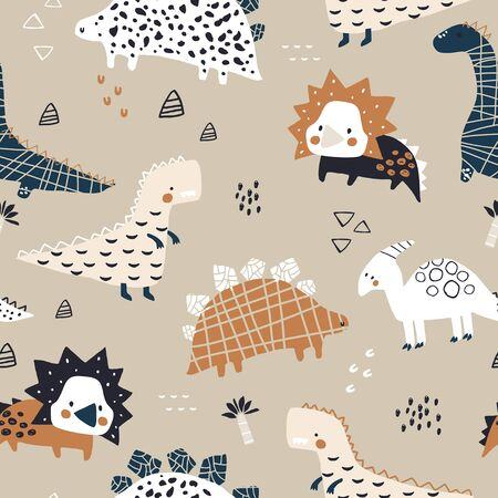 Childish seamless pattern with hand drawn dinozaurs in modern style. Creative vector childish background for fabric, textile