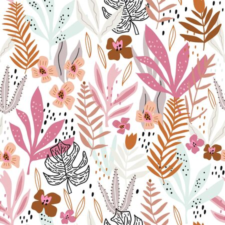 Seamless pattern with tropical foliage. Creative floral texture. Great for fabric, textile Vector Illustration