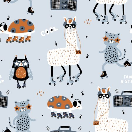 Seamless childish pattern with funny llamas, leopards,owl, turtle on roller skates . Creative scandinavian kids texture for fabric, wrapping, textile, wallpaper, apparel. Vector illustration