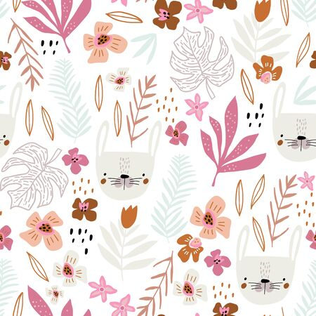 Seamless pattern with bunny faces and floral elements. Creative childish texture. Great for fabric, textile Vector Illustration Ilustração