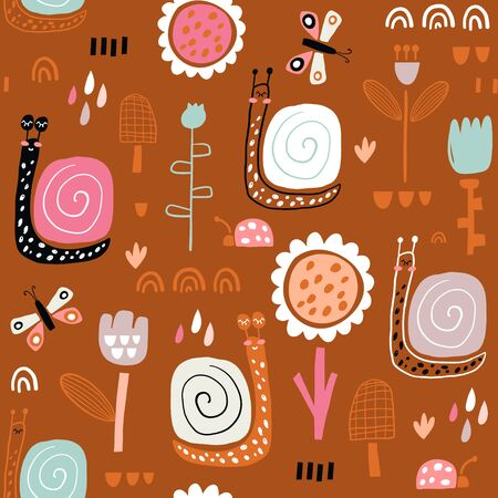 Seamless childish pattern with fairy flowers, snails, butterflies. Creative kids city texture for fabric, wrapping, textile, wallpaper, apparel. Vector illustration