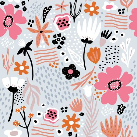 Seamless pattern with scandinavian style flowers. Creative floral texture. Great for fabric, textile Vector Illustration