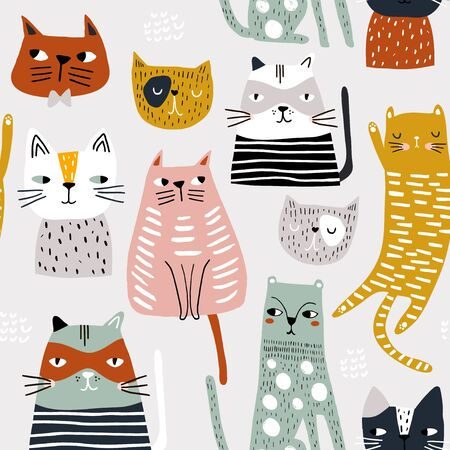 Seamless childish pattern with hand drawn cats. Creative kids hand drawn texture for fabric, wrapping, textile, wallpaper, apparel. Vector illustration Ilustração