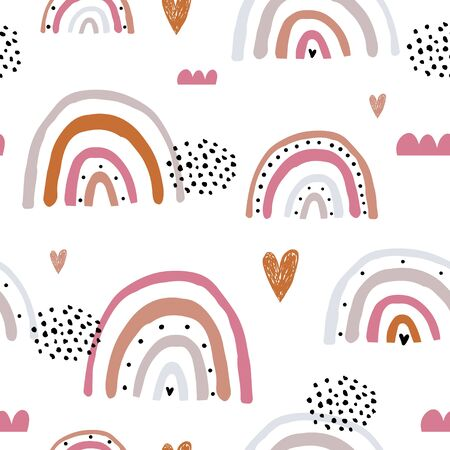 Childish seamless pattern with hand drawn rainbow and and hearts. Trendy kids vector background. Ilustração