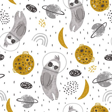 Seamless childish pattern with funny sloth in a helmet surrounded by space elements. Creative kids city texture for fabric, wrapping, textile, wallpaper, apparel. Vector illustration
