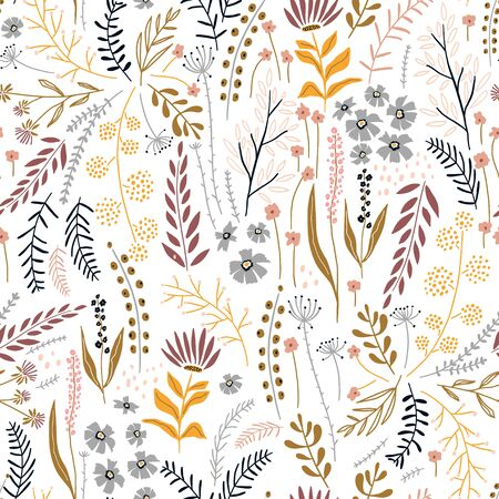Seamless floral pattern with hand drawn plants, leaves, wild flowers. Perfect for fabric design, wallpaper, apparel. Vector illustration