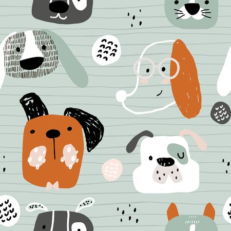Seamless pattern with cute dog faces, and hand drawn elements. Creative childish texture in scandinavian style. Great for fabric, textile Vector Illustration