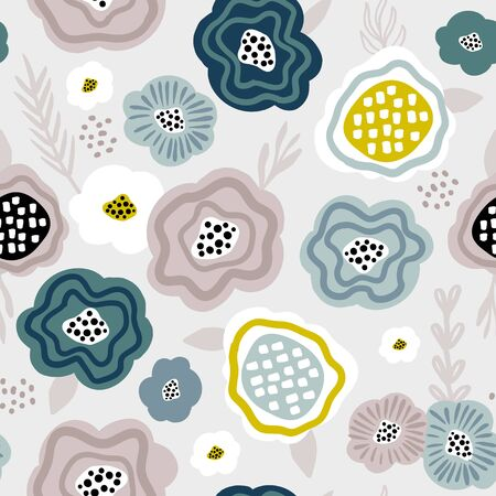 Seamless pattern with abstract flowers. Creative floral texture. Great for fabric, textile Vector Illustration Ilustração