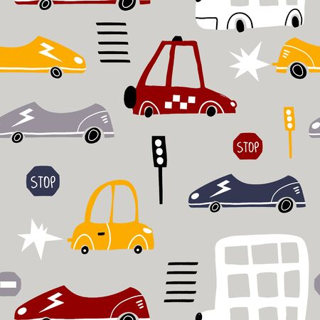 Seamless pattern with hand drawn cars. Cartoon cars, road sign,zebra crossing vector illustration.Perfect for kids fabric,textile,nursery wallpaper Ilustração