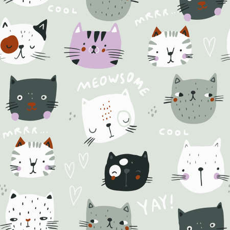 Seamless childish pattern with cute hand drawn cats heads. Creative kids hand drawn texture for fabric, wrapping, textile, wallpaper, apparel. Vector illustration