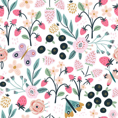 Seamless pattern with flowers, blueberry and leaves, rasberry, butterfly. Creative hight detailed floral texture. Great for fabric, textile Vector Illustration Vektorgrafik