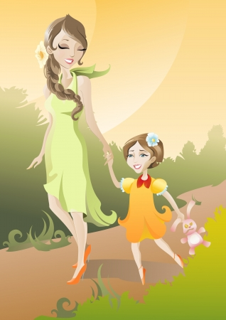 The illustration of Mother and Daughter Vector