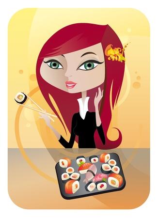 Die Abbildung des l�chelnden M�dchen genie�en Sushi