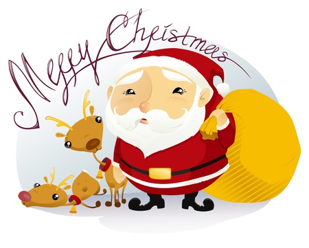 The vector illustration of the Santa Claus and his Reindeers