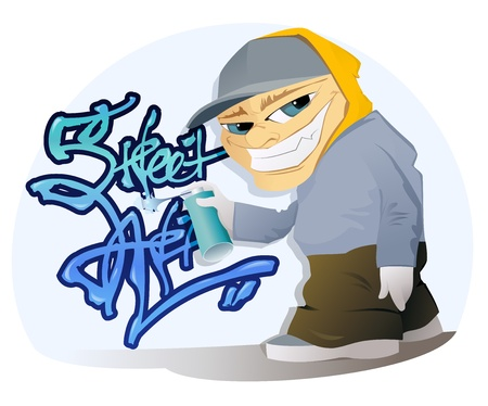 The vector illustration of the Graffiti Artist With Spray Can Vector