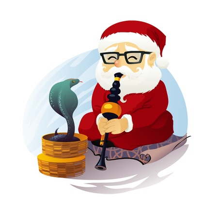 The vector illustration of the Santa Claus and Snake