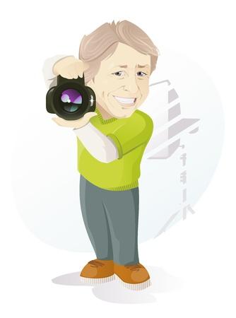 Die Vektor-Illustration des l�chelnden Fotograf Illustration