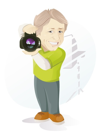 The vector illustration of the Smiling Photographer