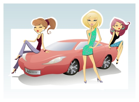 The vector illustration of the Car and Three Girls