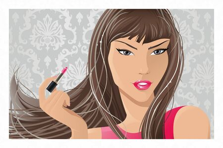The illustration of the Girl painting Lips Stock Vector - 17142677
