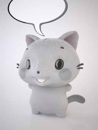 The Three-dimensional Grey kitten and Talking Bubble Stock Photo - 17195477
