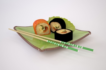 The Three-dimensional Still-life of the Sushi and Chopsticks Stock Photo - 17337529