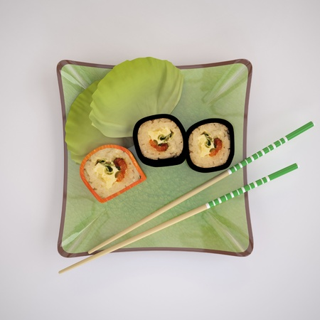 The Three-dimensional Still-life of the Sushi and Chopsticks photo