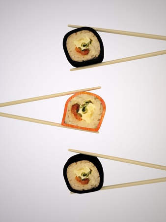 The Three-dimensional Still-life of the Sushi and Chopsticks Stock Photo - 17337528
