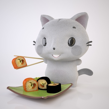 The Three-dimensional Grey kitten enjoys Sushi Stock Photo - 17337531