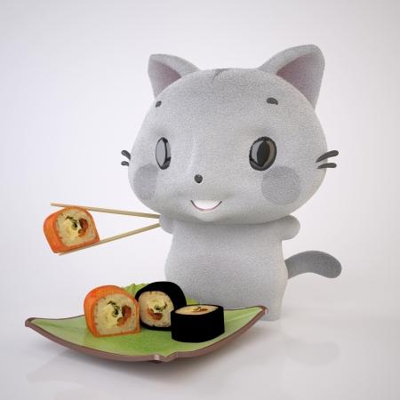 The Three-dimensional Grey kitten genie�t Sushi