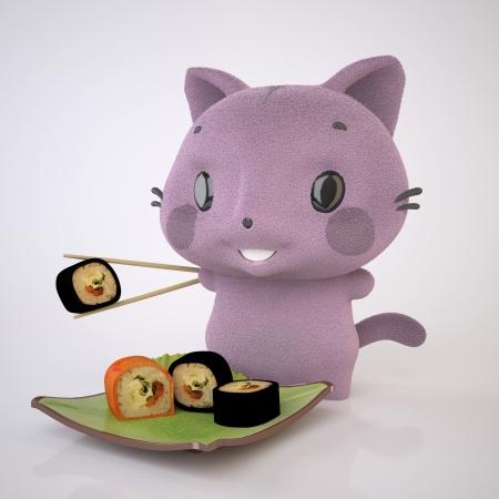 The Three-dimensional Purple kitten enjoys Sushi Stock Photo
