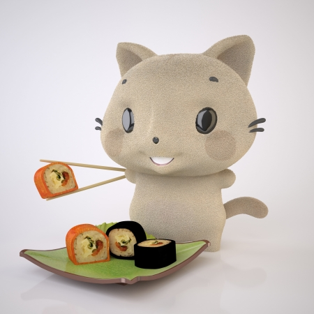 The Three-dimensional Beige kitten enjoys Sushi Stock Photo - 17337534