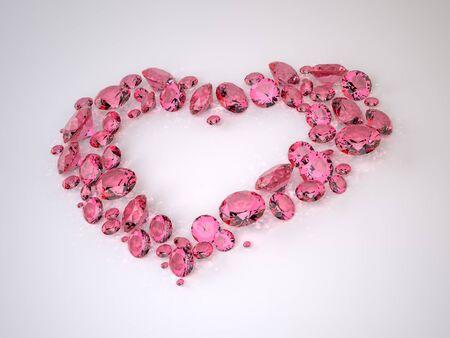 Die drei-dimensional Diamonds in Form von Herzen liegt