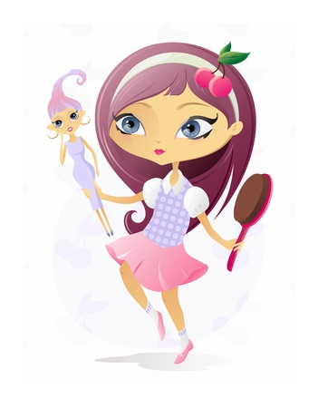 hairbrush: The illustration of the Girl with Beautiful Doll