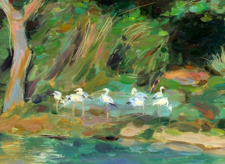 The Oil Painting of the Wildlife Reserve
