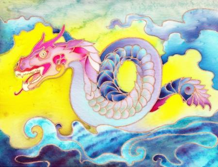 Painted Oriental Dragon Batik Lizenzfreie Bilder