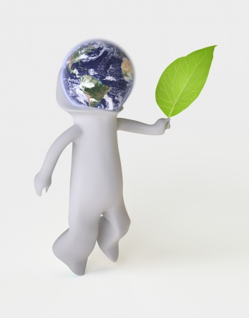 Three-dimensional Man symbolizing Environmental Awareness and an Acceptance of Responsibility for the Care of our Earth  Isolated On White , Globe mapping image provided by NASA http   visibleearth nasa gov view photo