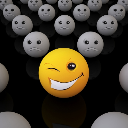 sneering: The Three-dimensional Smiley Ball in Optimistic Mood in an Environment of Pessimists  On Black Background  Stock Photo