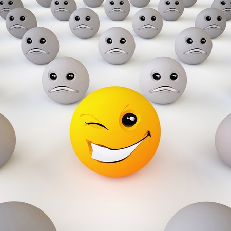character traits: The Three-dimensional Smiley Ball in Optimistic Mood in an Environment of Pessimists  On White Background  Stock Photo