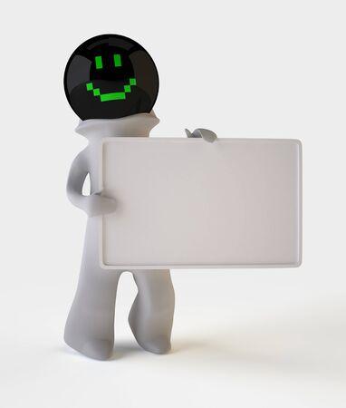 Dreidimensionale Mann mit leeren Brett, das einfach, Ihre eigenen Informationen, Isoliert Auf Weiss schreiben ist Lizenzfreie Bilder