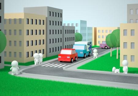 urban sprawl: Busy Scene  Near A Zebra Crossing