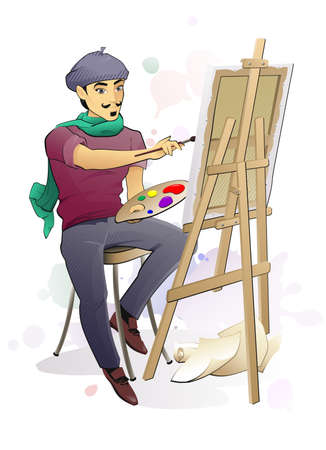 The illustration of the Artist Painting a Canvas on an Easel Vector